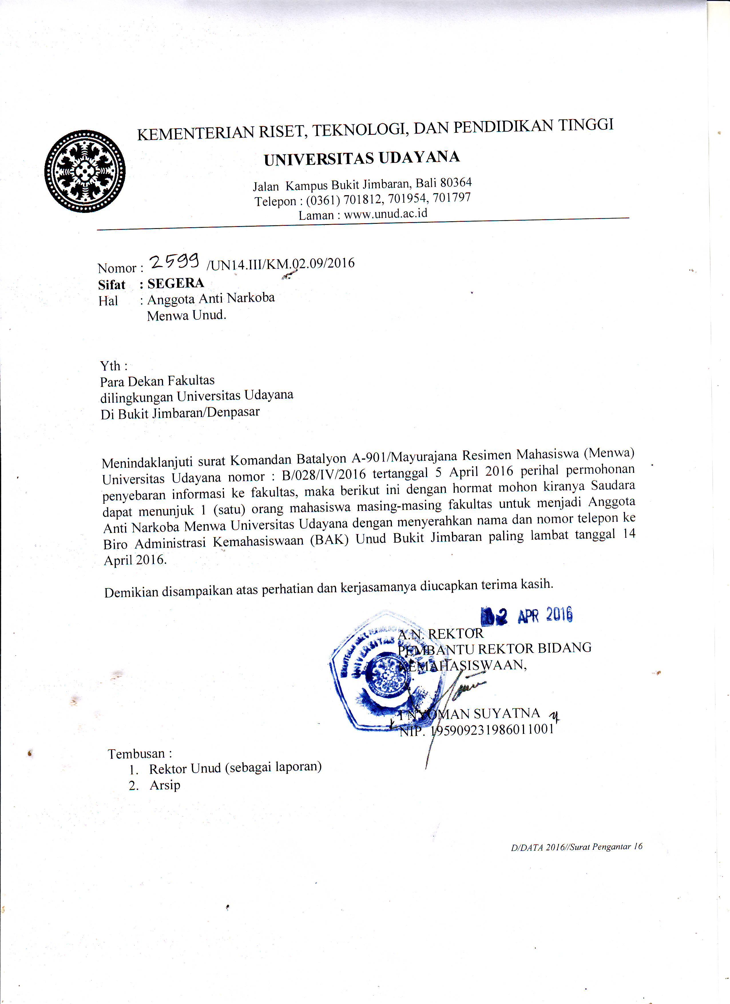 Unud Sinmawa Udayana Surat Undangan Menjadi Anggota Anti