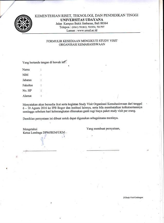 Unud Sinmawa Udayana Surat Permohonan Peserta Study